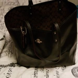 Coach Reversible Solid Black/Signature Brown Tote